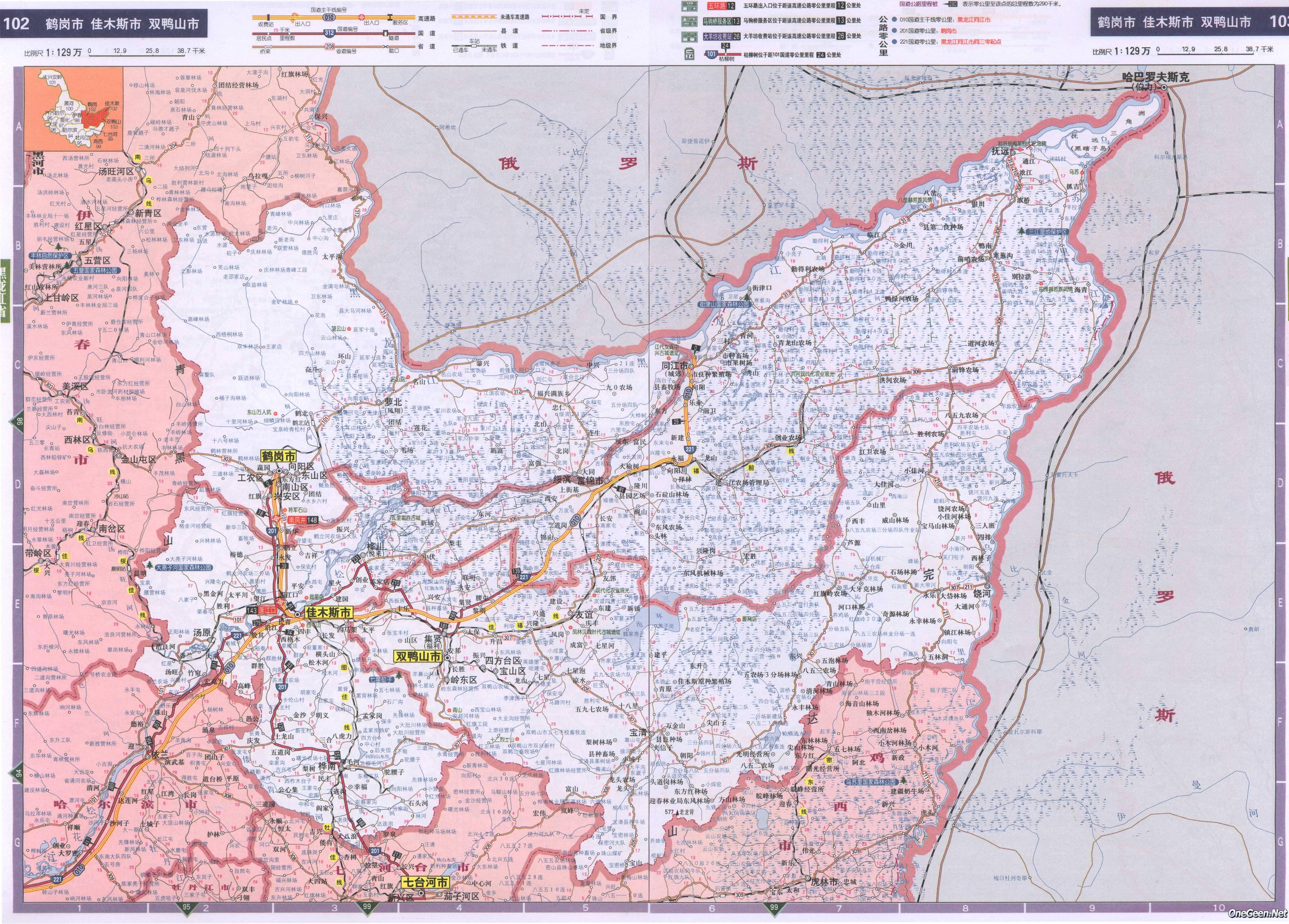 黑龙江鹤岗市佳木斯市双鸭山市交通地图图片