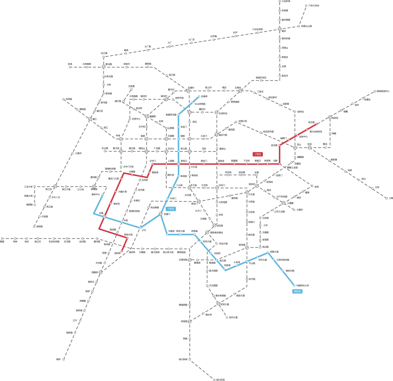 南京地铁线路图 高清图片