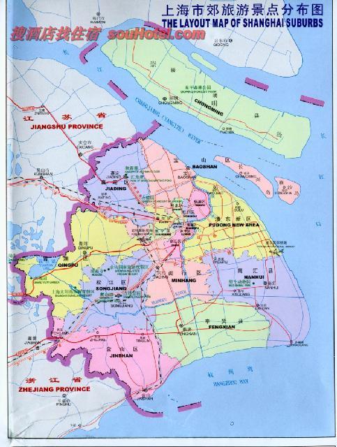 上海旅游简图 上海市行政区划地图