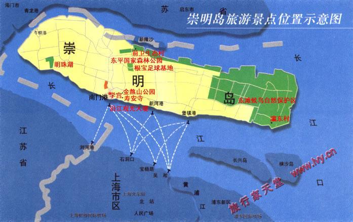 崇明岛旅游景点示意图_上海旅游地图库_地图窝