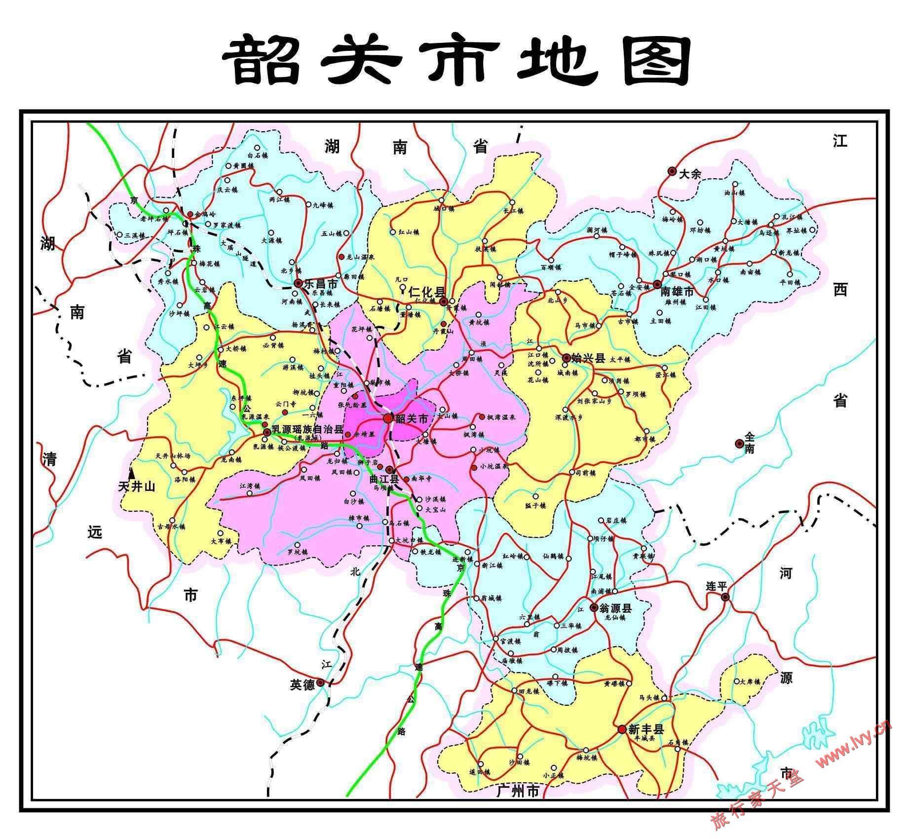 广东丹霞山旅游地图 广东省韶关市区公路交