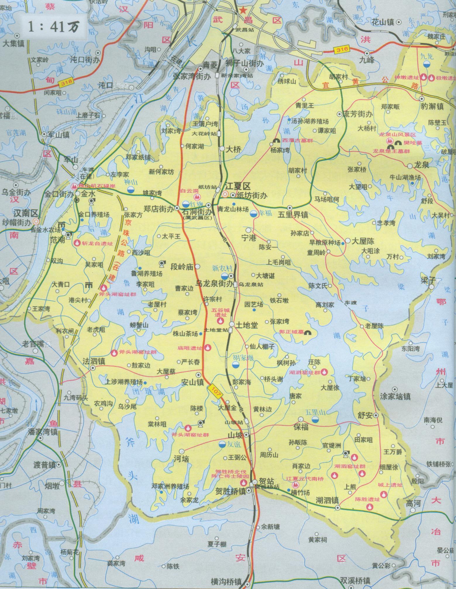 江夏区地图_武汉地图库 第一站>>&