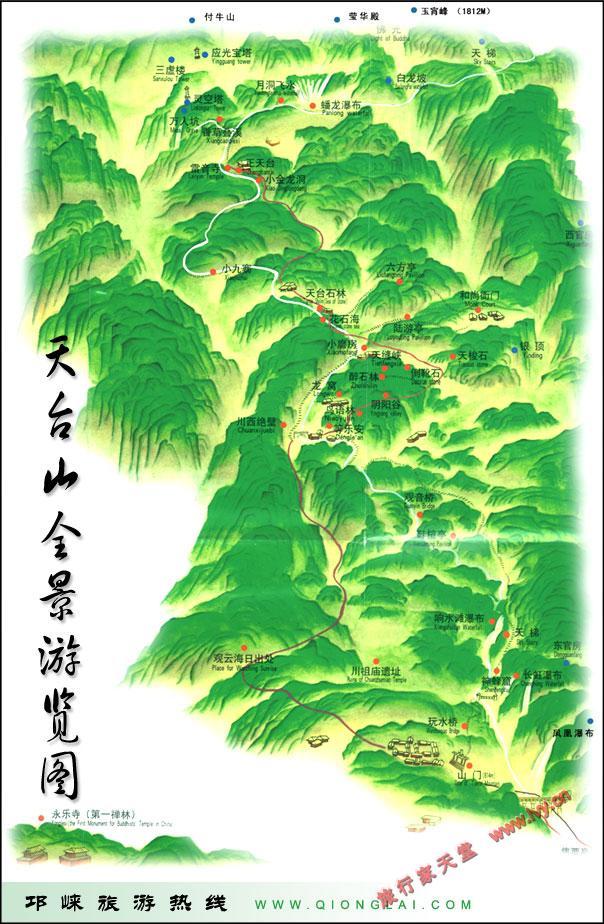 天台山全景游览图_台州市地图查询