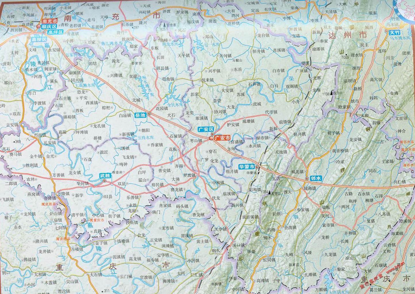 广安行政区划交通地图