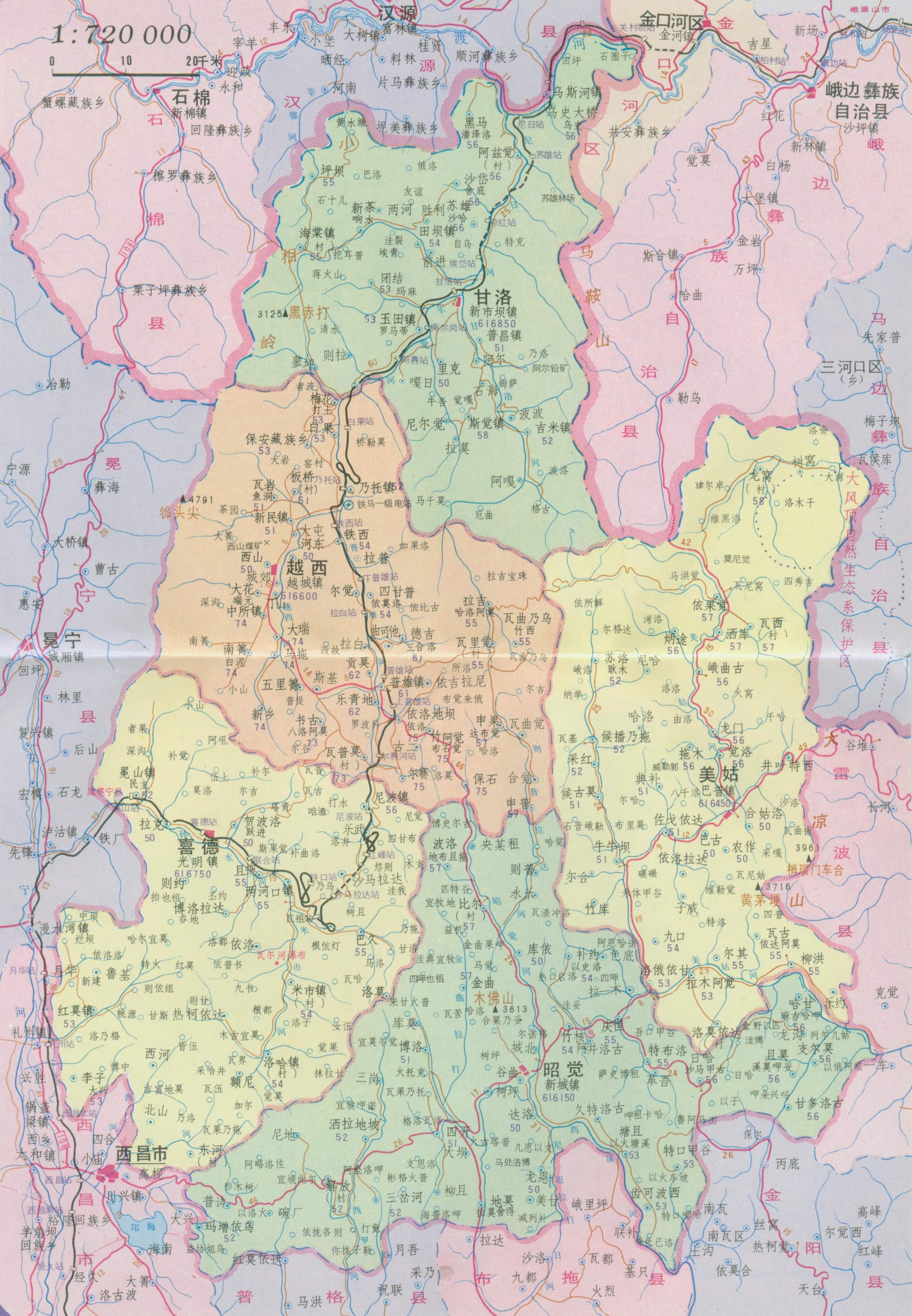 越西县地图_凉山彝族自治州地图查询
