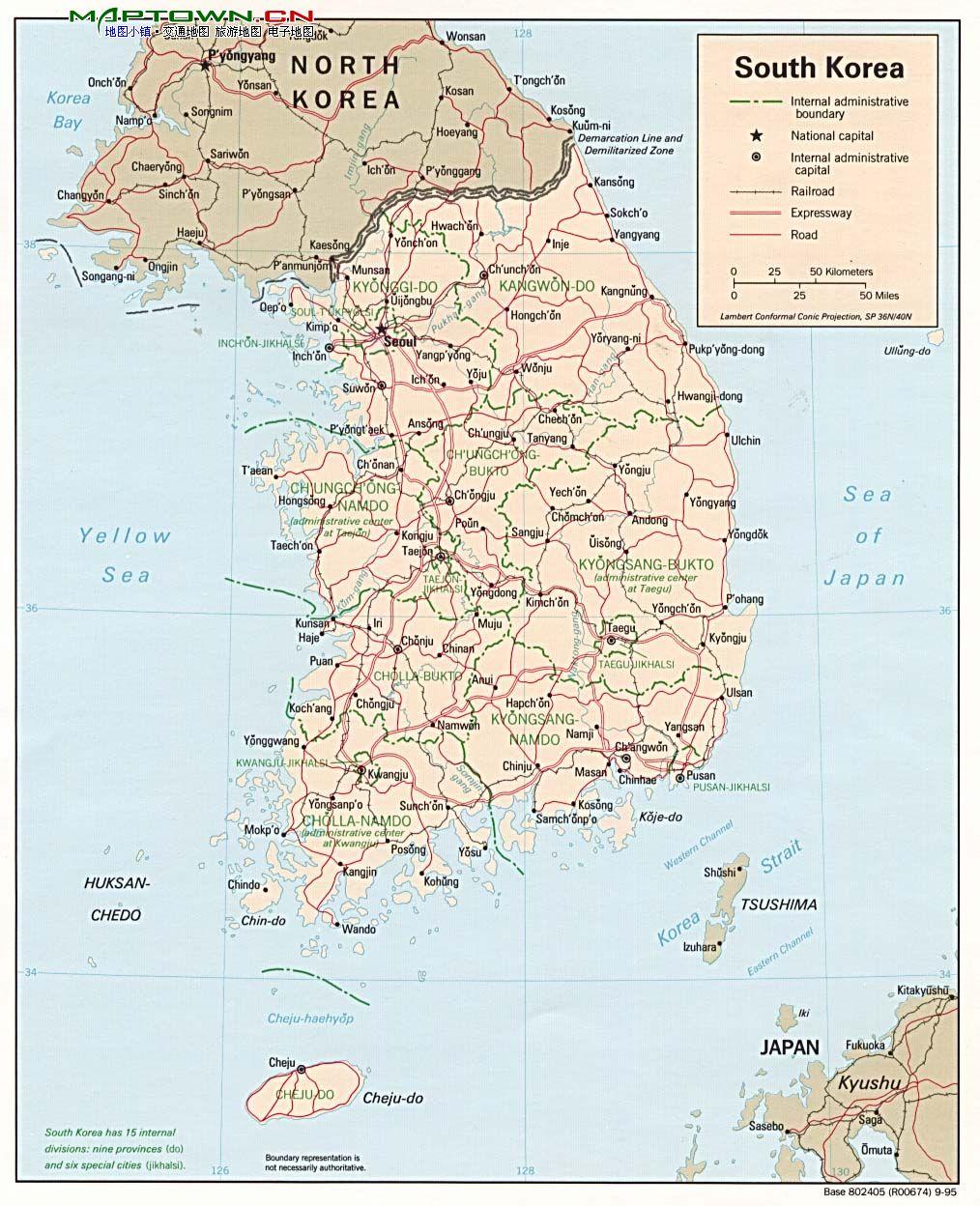 韩国地图英文版