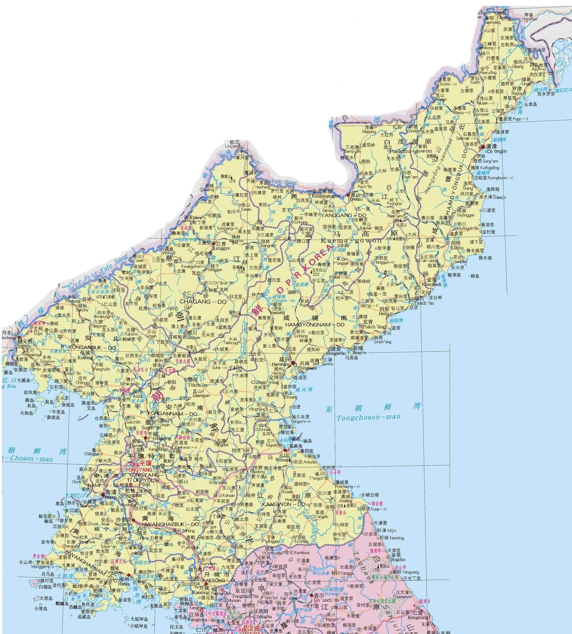朝鲜地图中文版