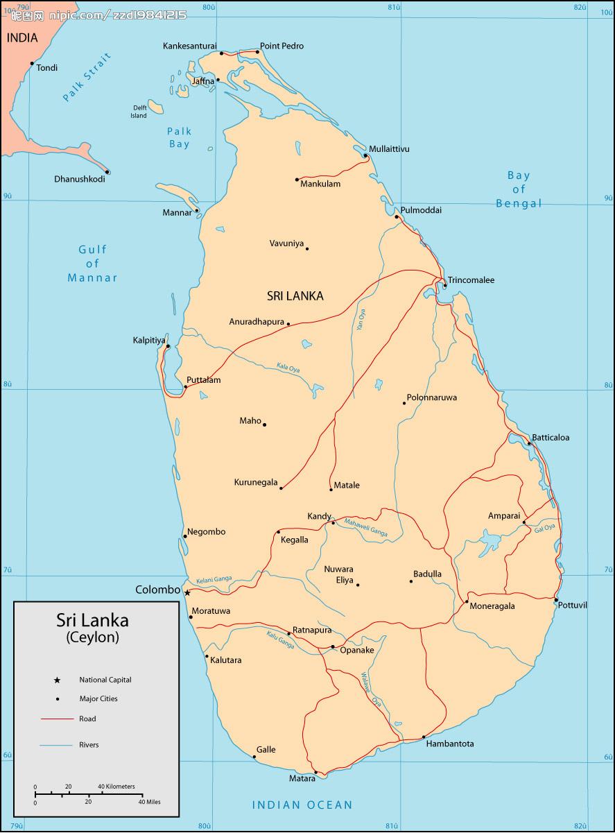 斯里兰卡地图英文版