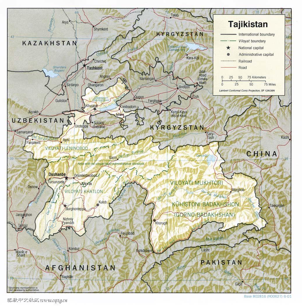 塔吉克斯坦地图英文版