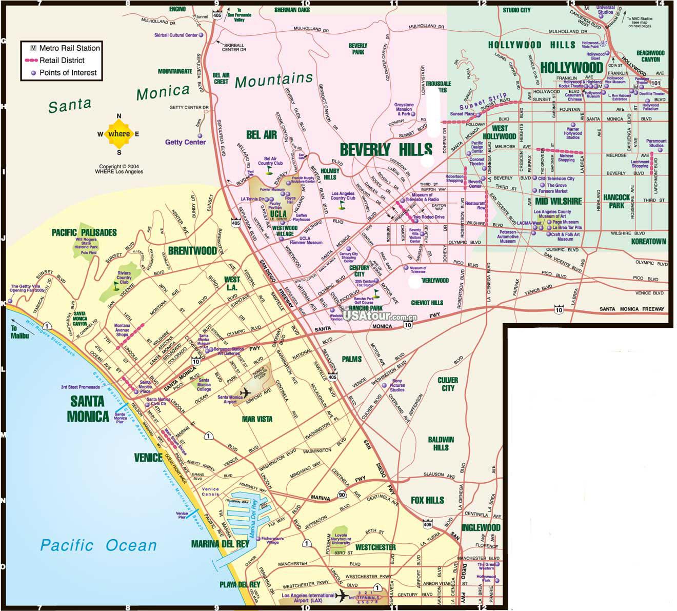 洛杉矶地图_美国地图查询