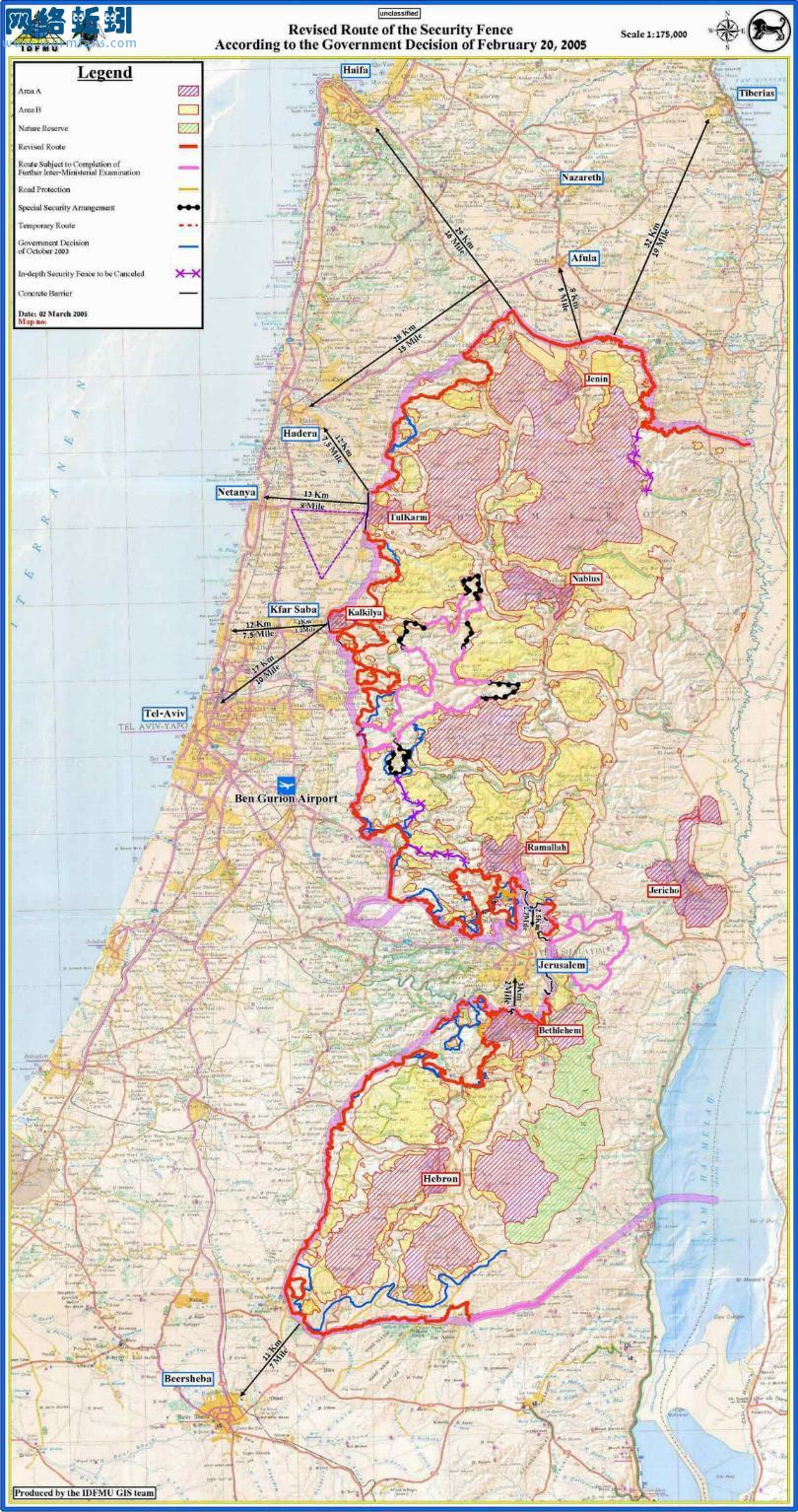 巴勒斯坦英文版地图