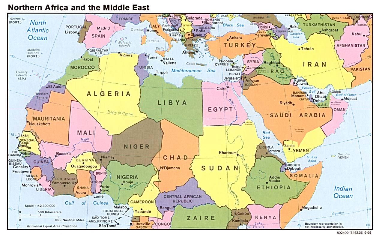 中东北非地图; 西亚北非地图详细内容; 伊拉克地图英文图片