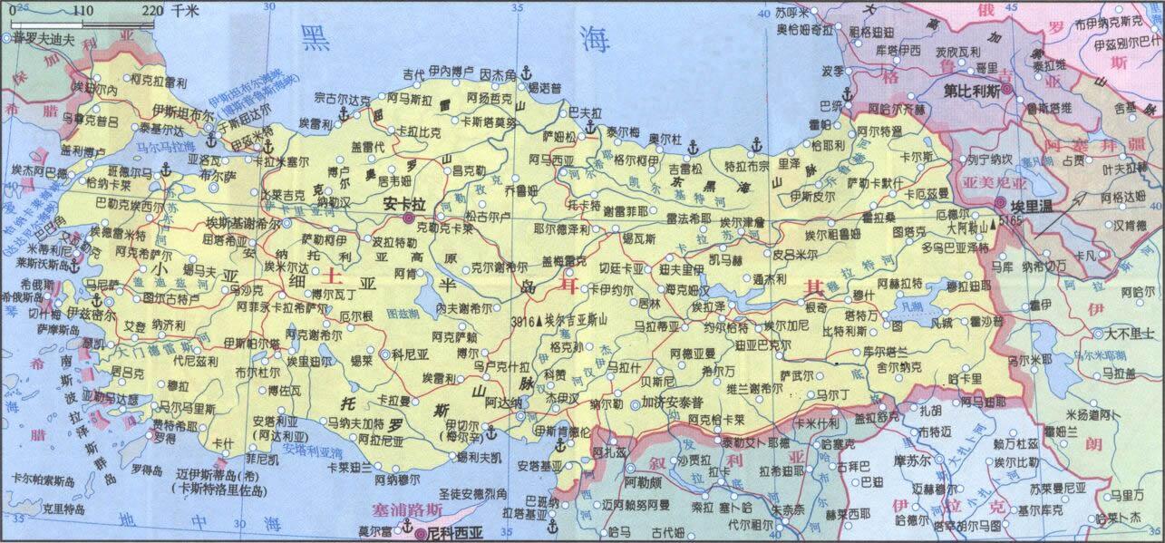 地图库 世界地图 亚洲 土耳其 >> 土耳其地图中文全图