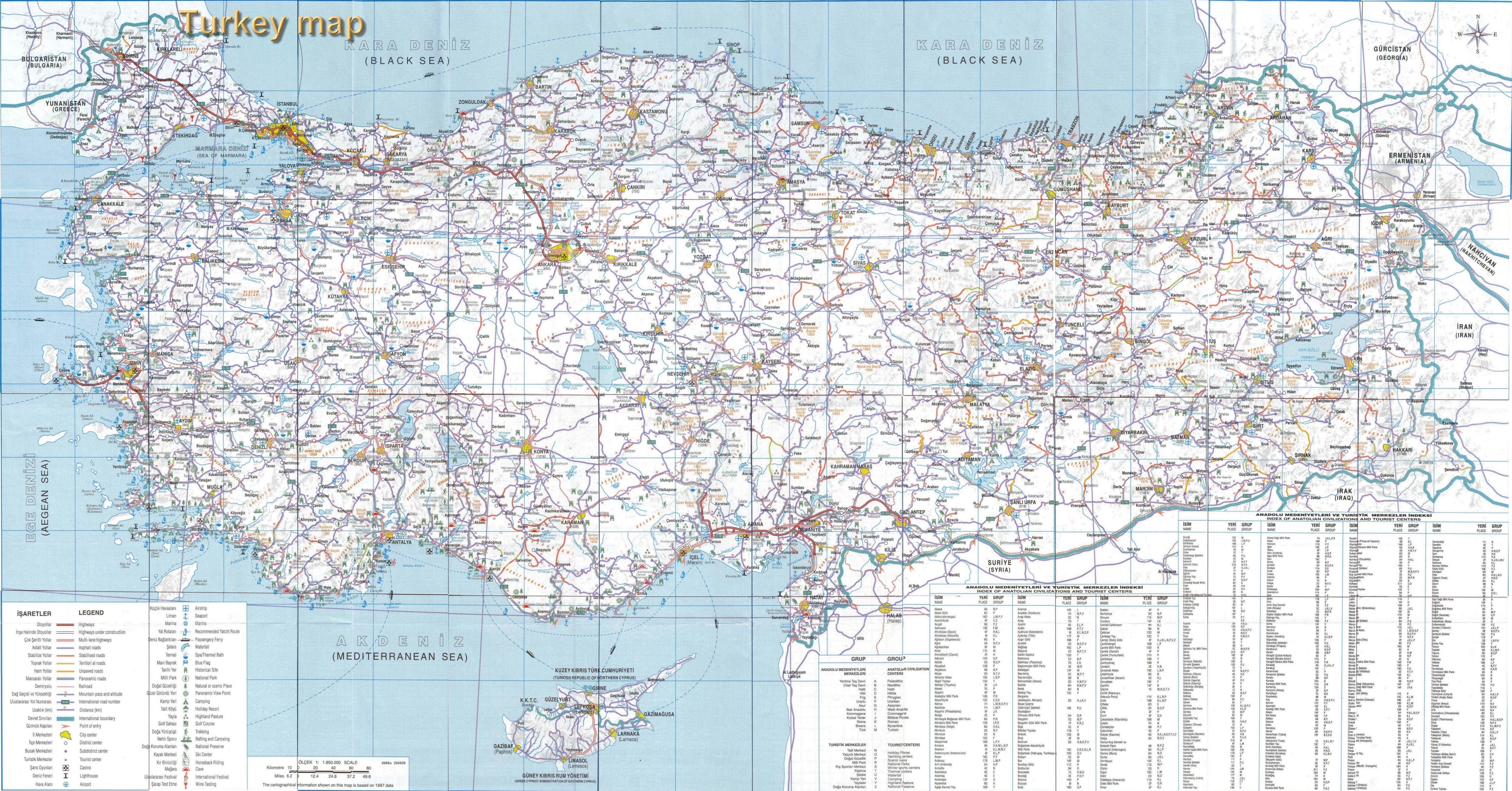 土耳其英文版全图_土耳其地图查询