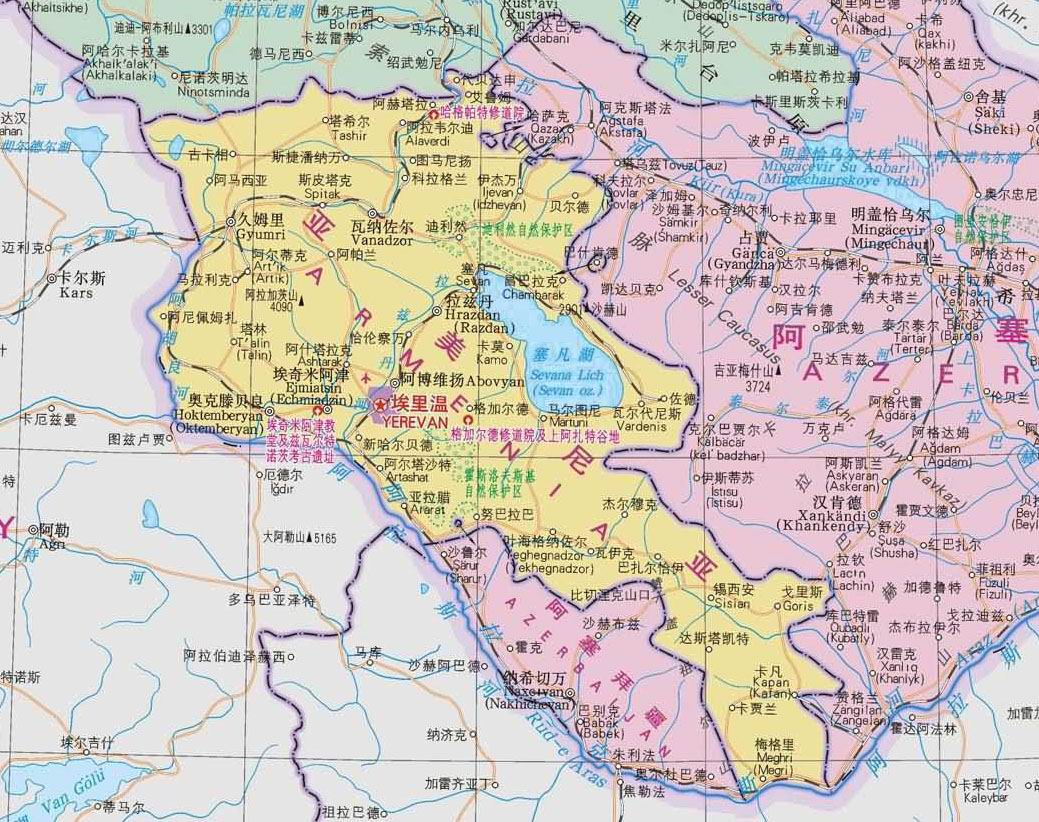 地图库 世界地图 亚洲 亚美尼亚 >> 亚美尼亚地图中文版    世界各国