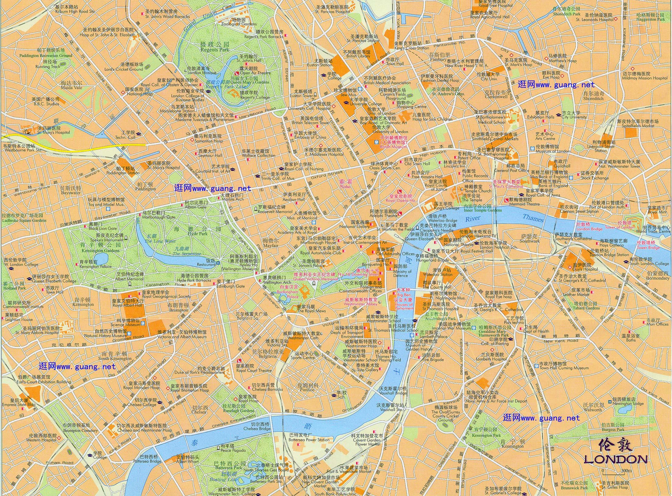 英国伦敦市区地图中文版图片