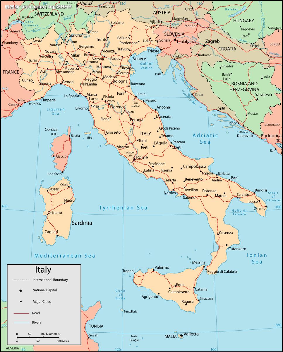 意大利地图英文_意大利地图库