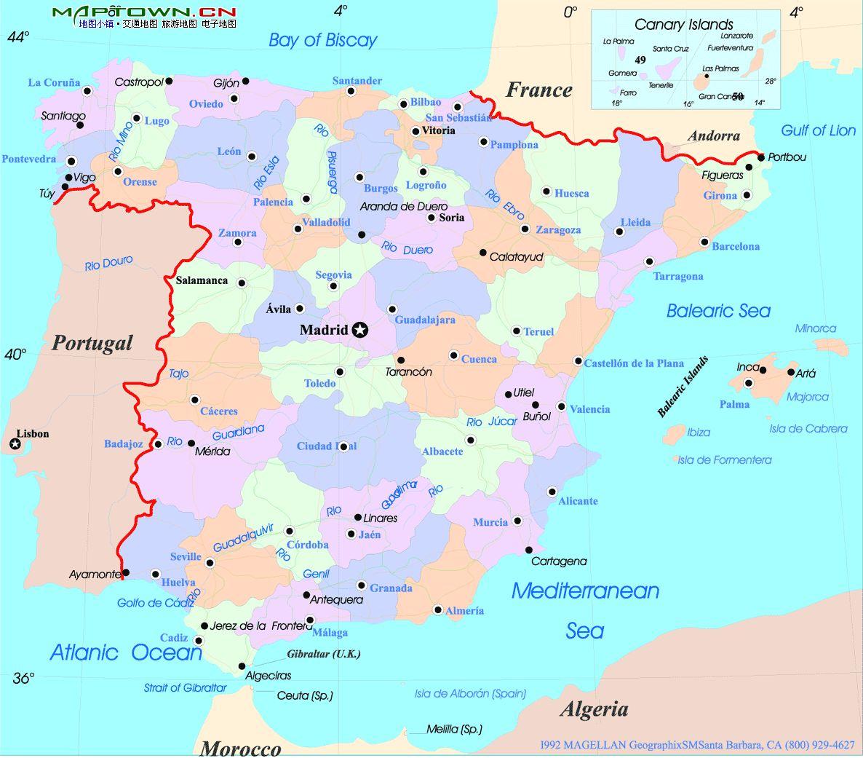 西班牙英文版地图