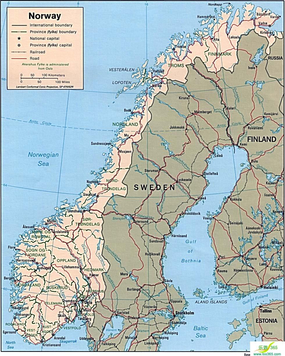 挪威地图英文版_挪威地图库