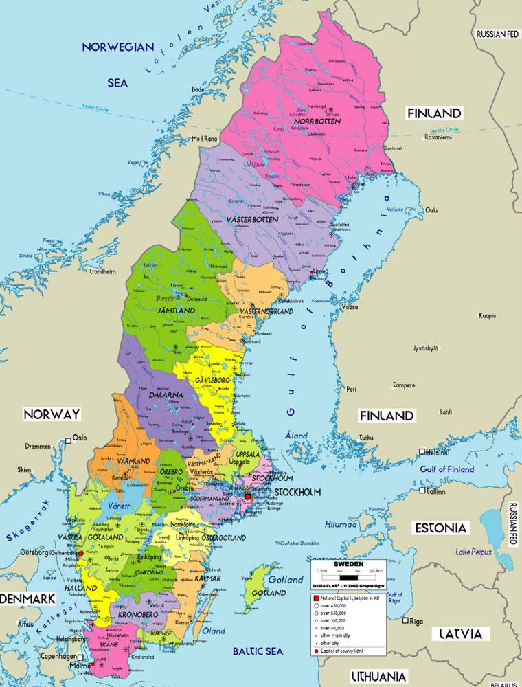 瑞典地图英文版