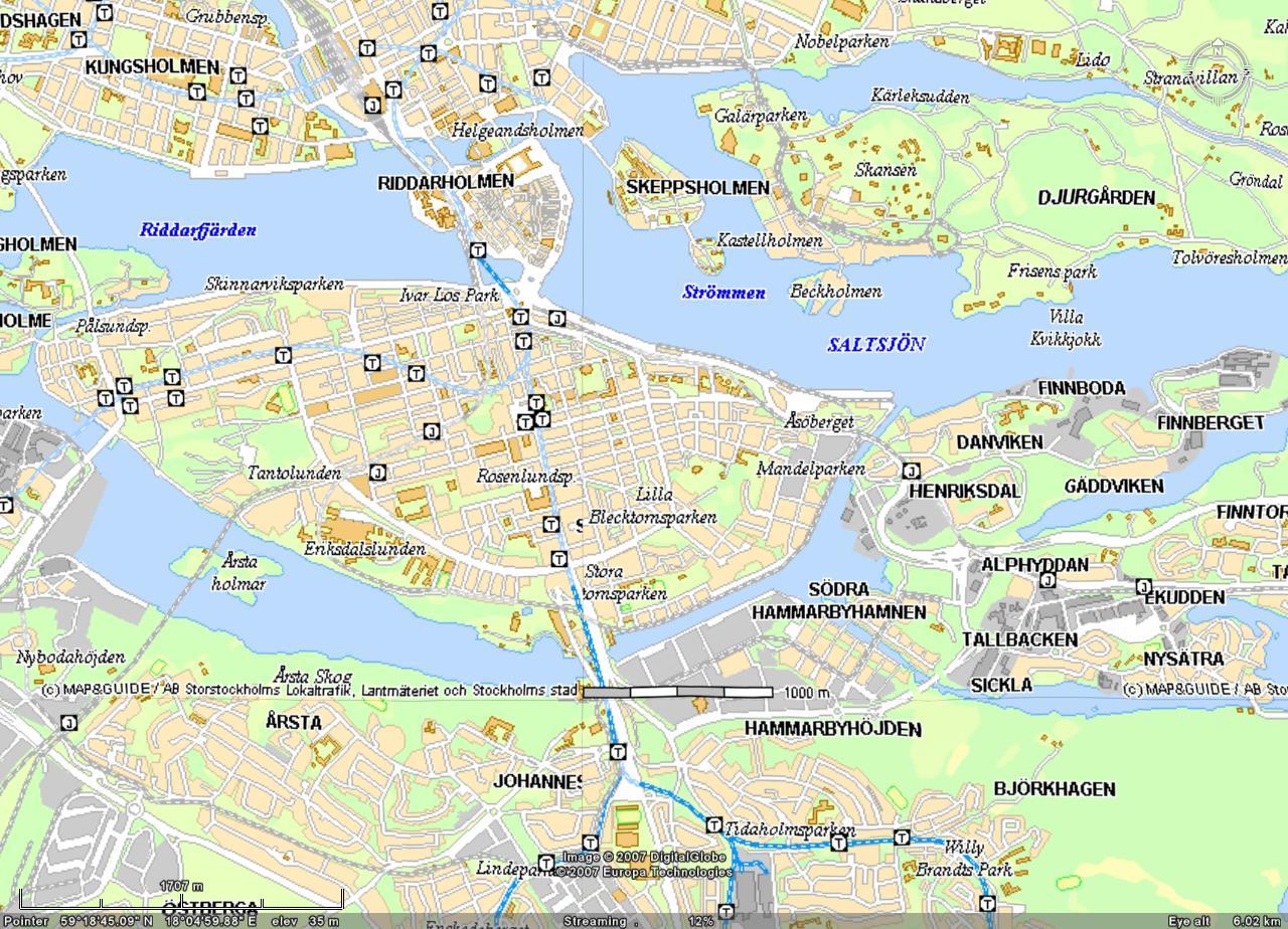 瑞典斯德哥尔摩地图英文版