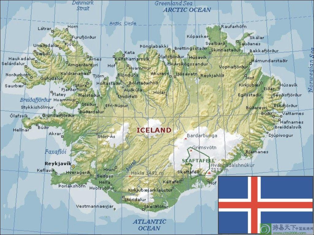 冰岛英文版地图 (人气: (载入中...) 分类: 冰岛 )