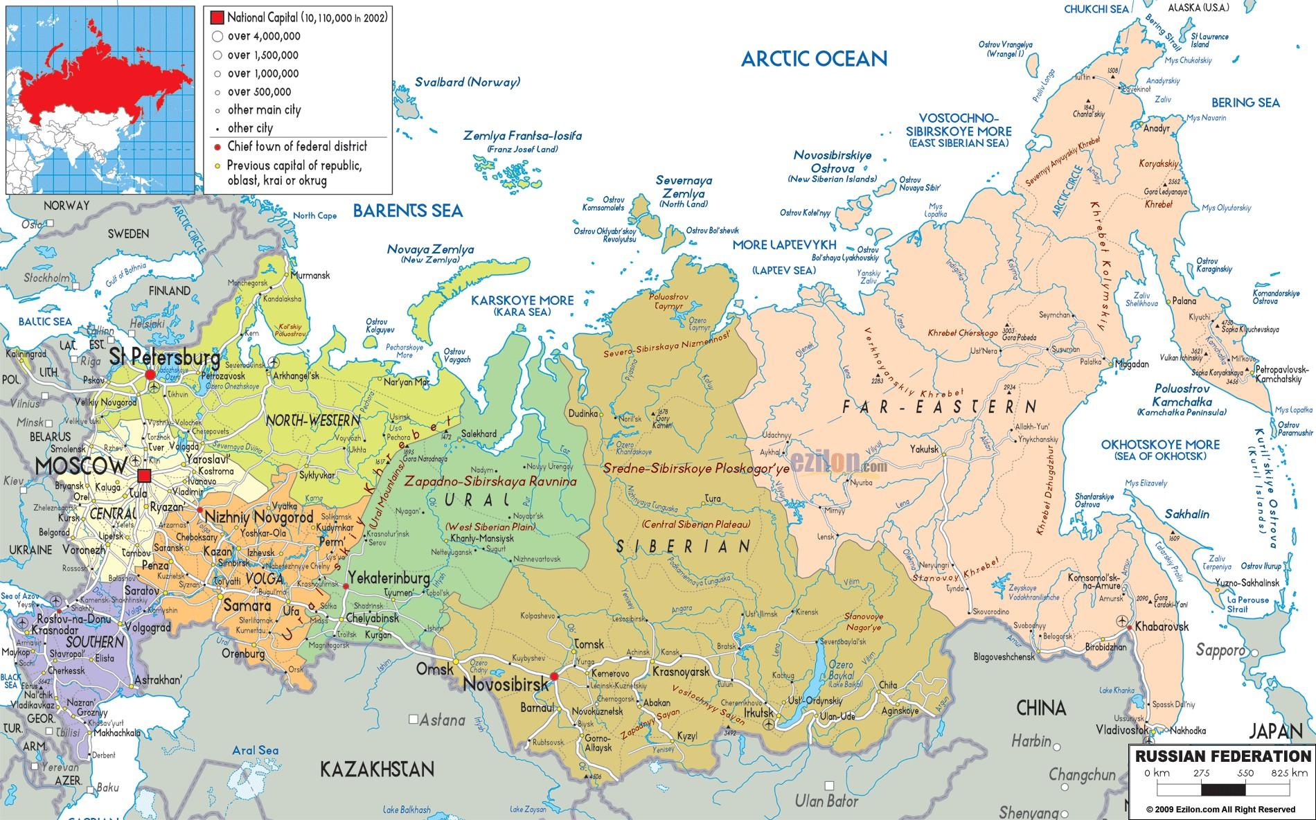 俄罗斯英文地图_俄罗斯地图查询