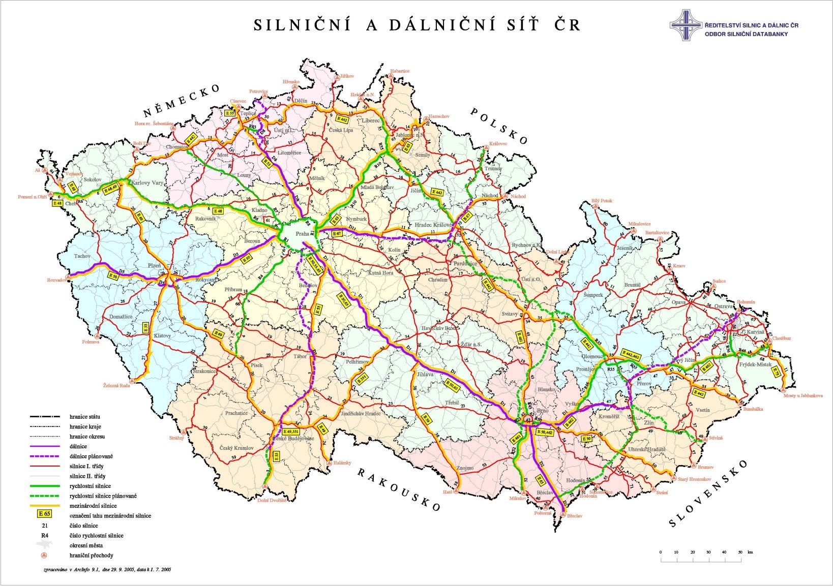 捷克全国公路图英文_捷克地图查询