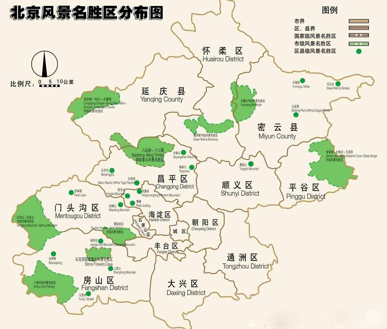 北京风景名胜区分布图_北京旅游地图库_地图窝