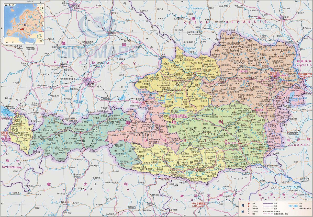 意大利 地图 英文 版