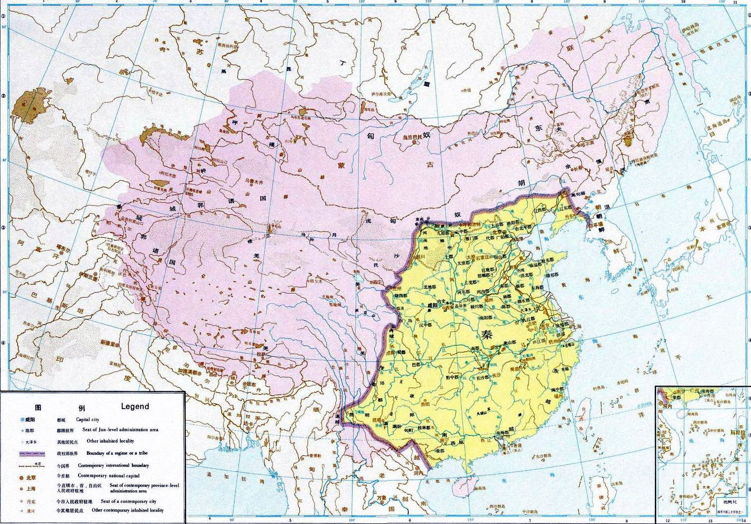历史地图:秦时期全图_中国历史地图库 第一站>&g