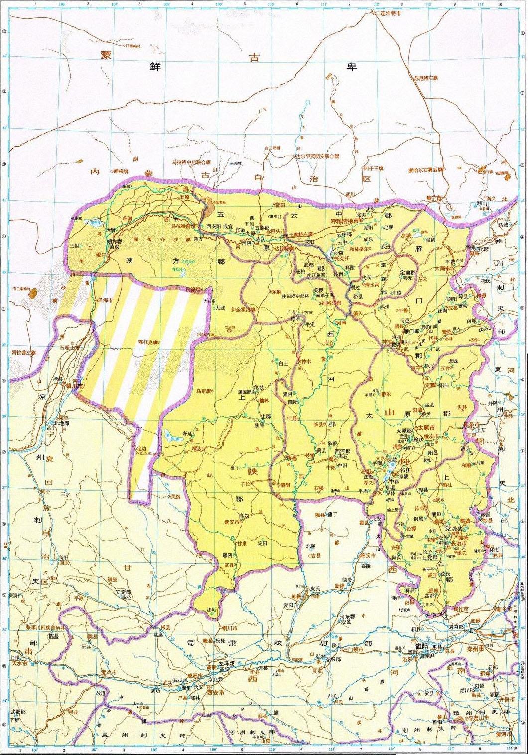地图 太原/历史地图:并州刺史部(东汉)