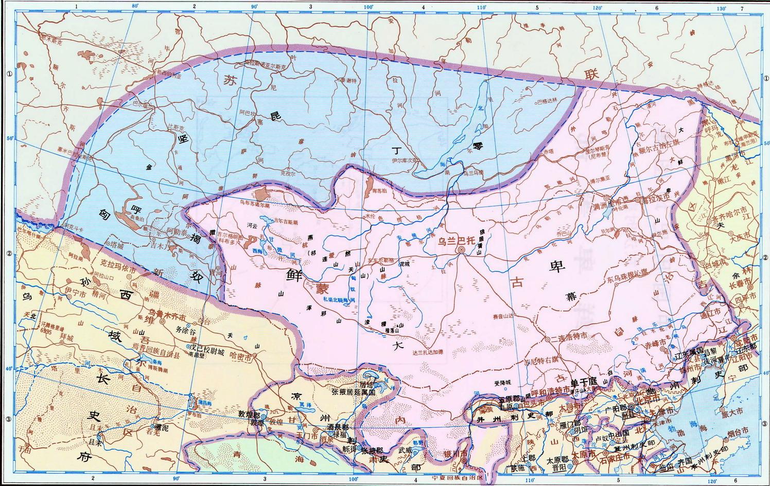 历史地图:鲜卑等部(东汉)_中国史稿地图地图库_地图窝图片