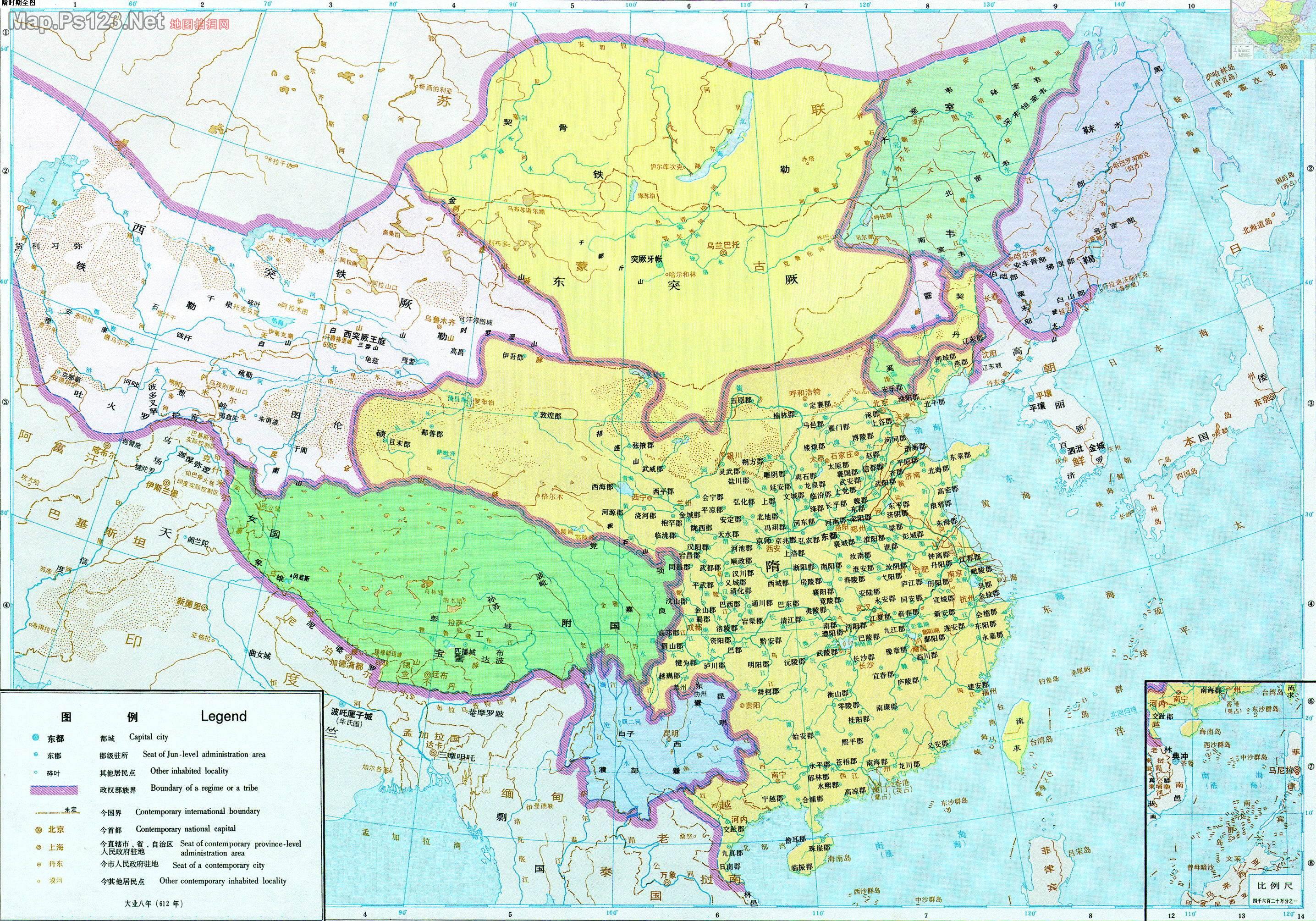 历史地图:隋时期全图_中国史稿地图地图库_地图窝图片