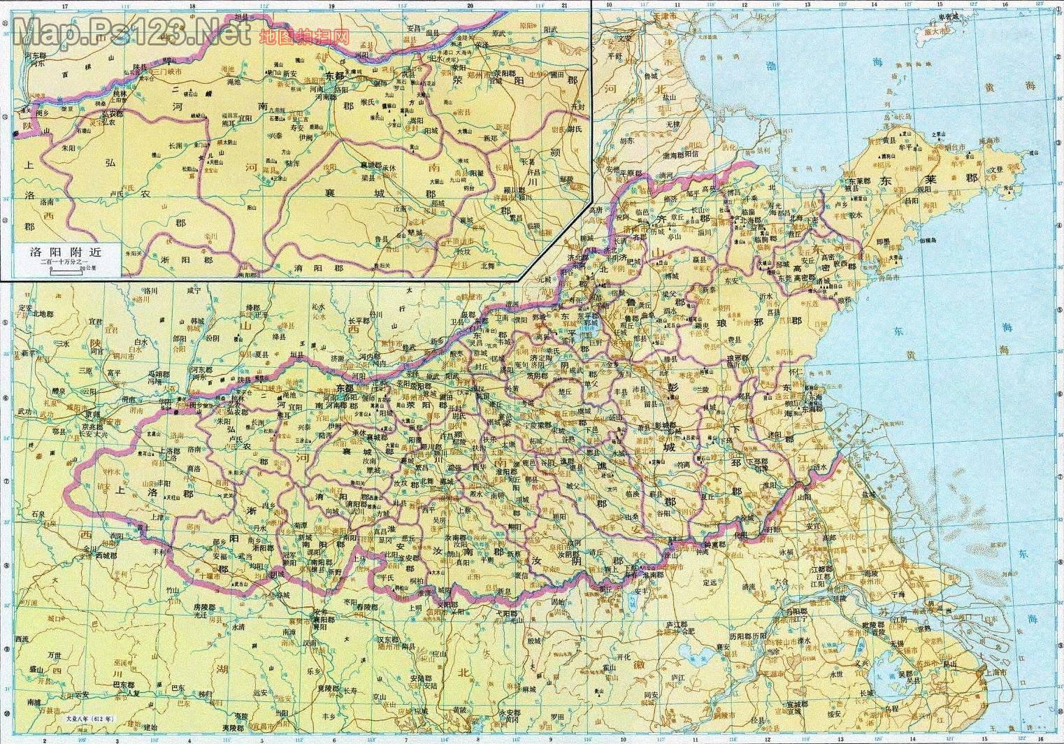 历史地图:河南诸郡(隋)