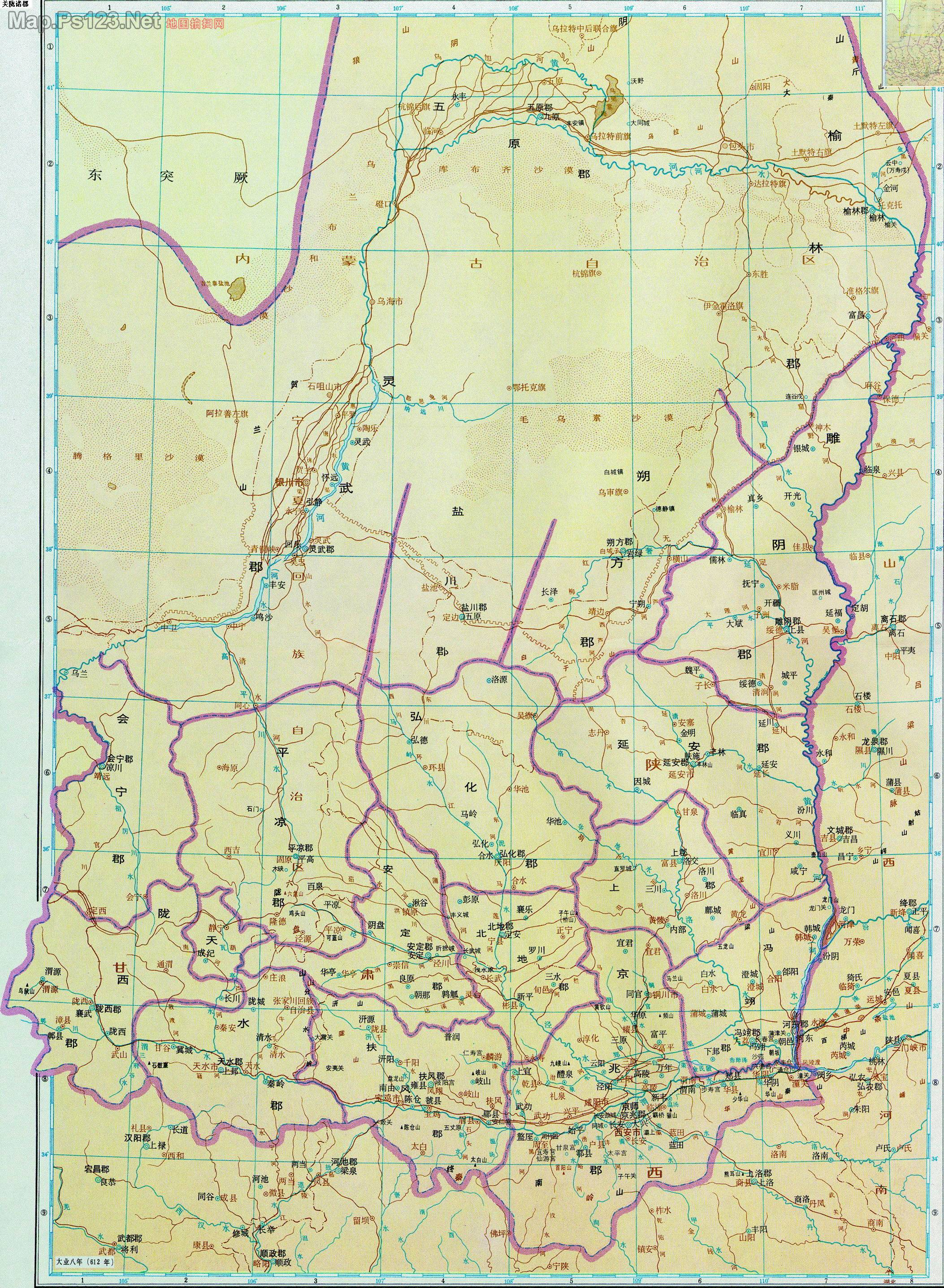 历史地图:关陇诸郡(隋)_中国历史地图查询