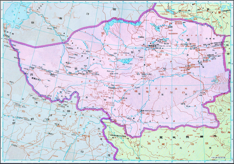 地图/历史地图:察合台汗国(元)