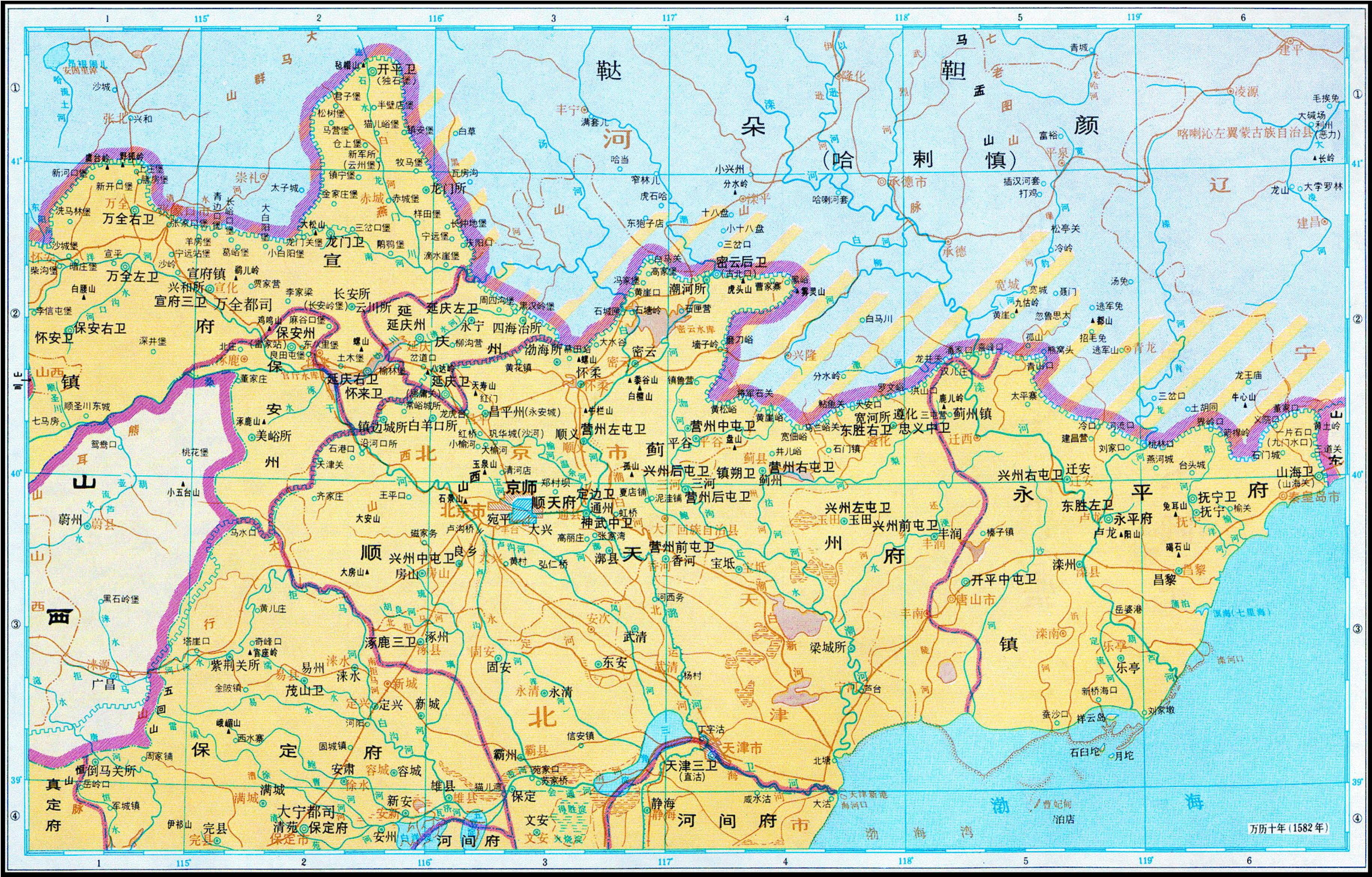 历史地图:顺天府附近(明)_中国史稿地图地图库_地图窝图片