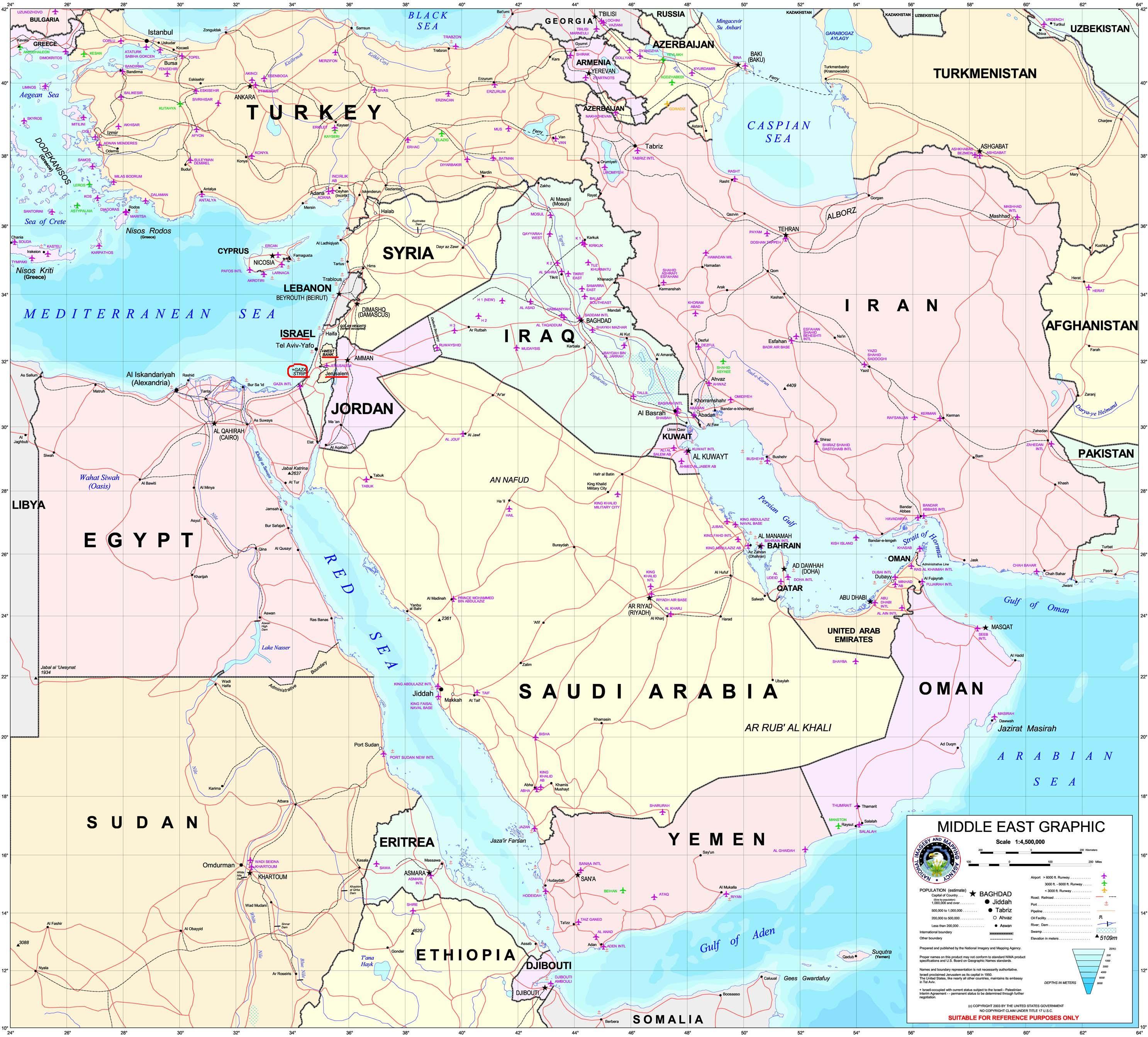 阿尔及利亚高清英文全图