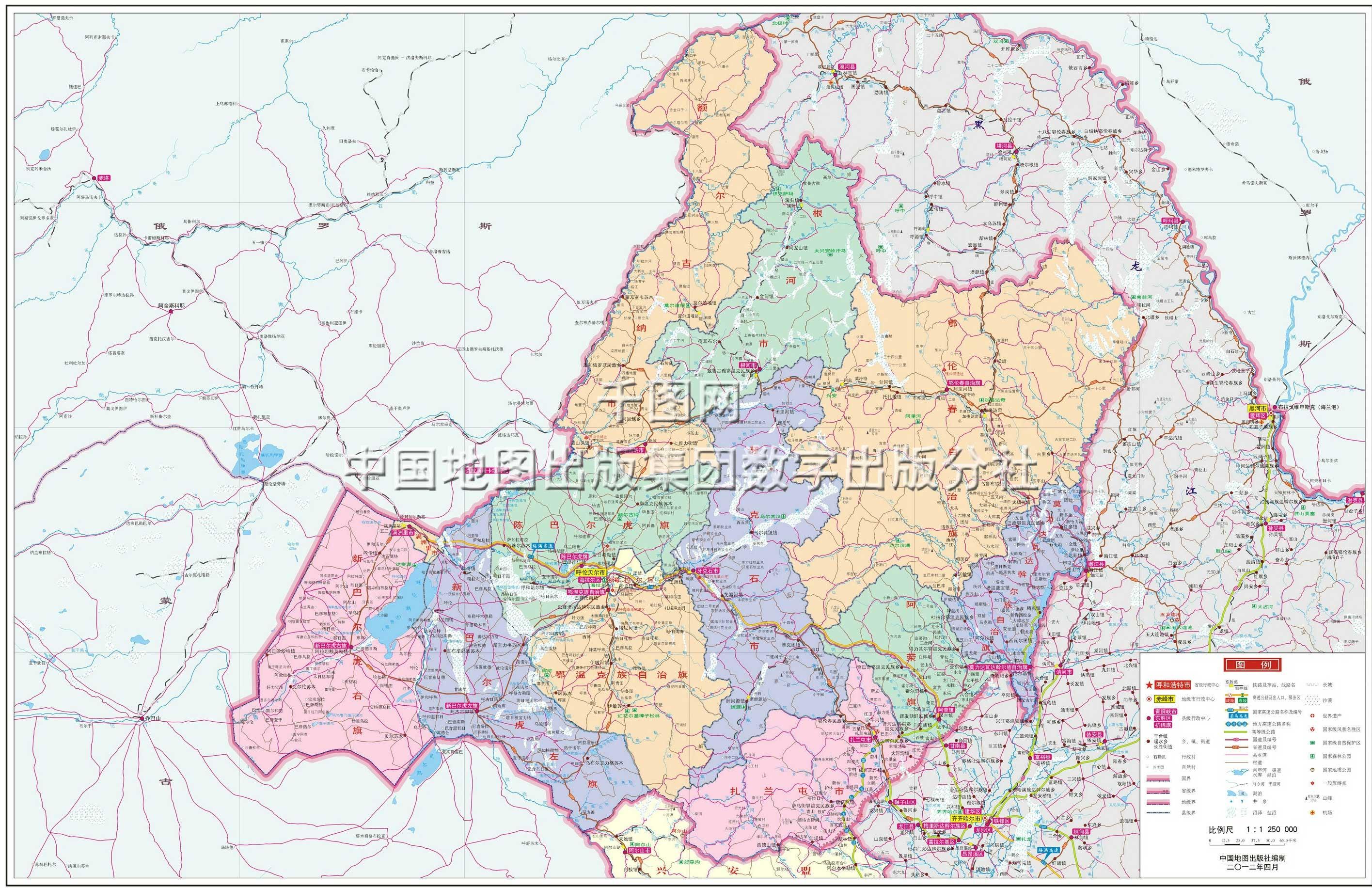 呼伦贝尔市地图高清版图片