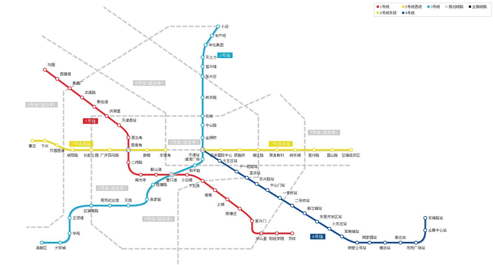 天津地铁线路图 最新版图片