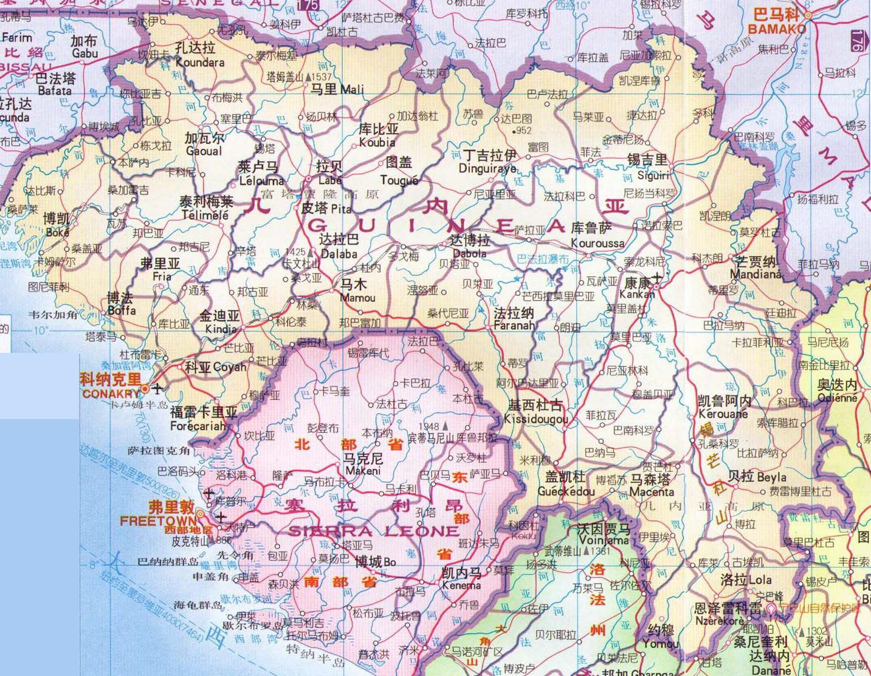 几内亚中文版地图_几内亚地图库_地图窝图片