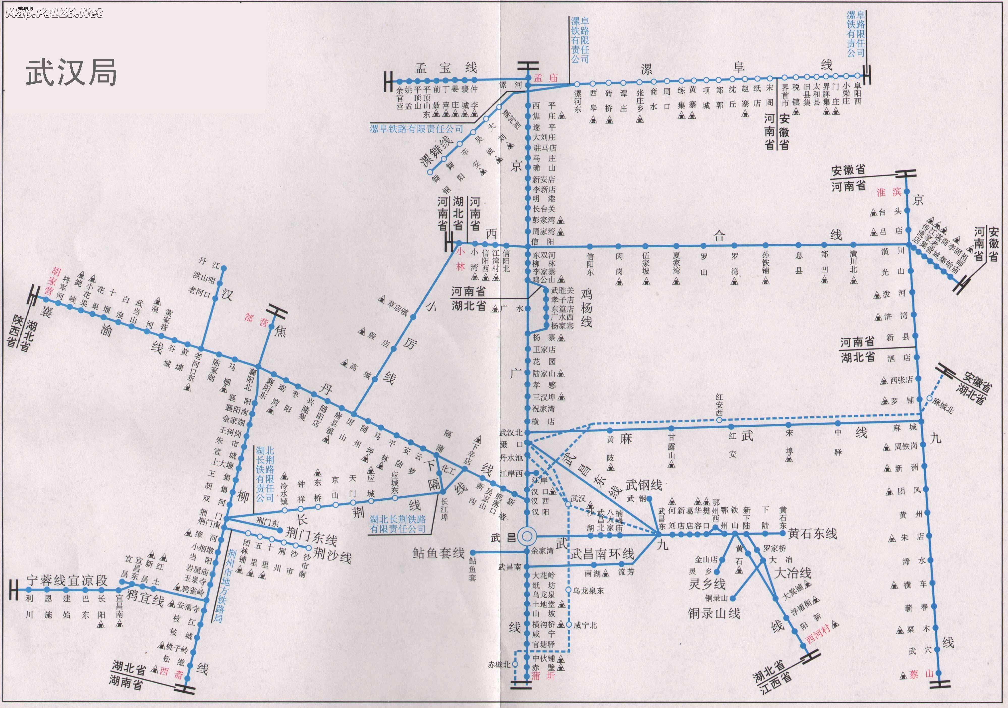 武汉局管辖的铁路线路图_铁路线路图地图查询