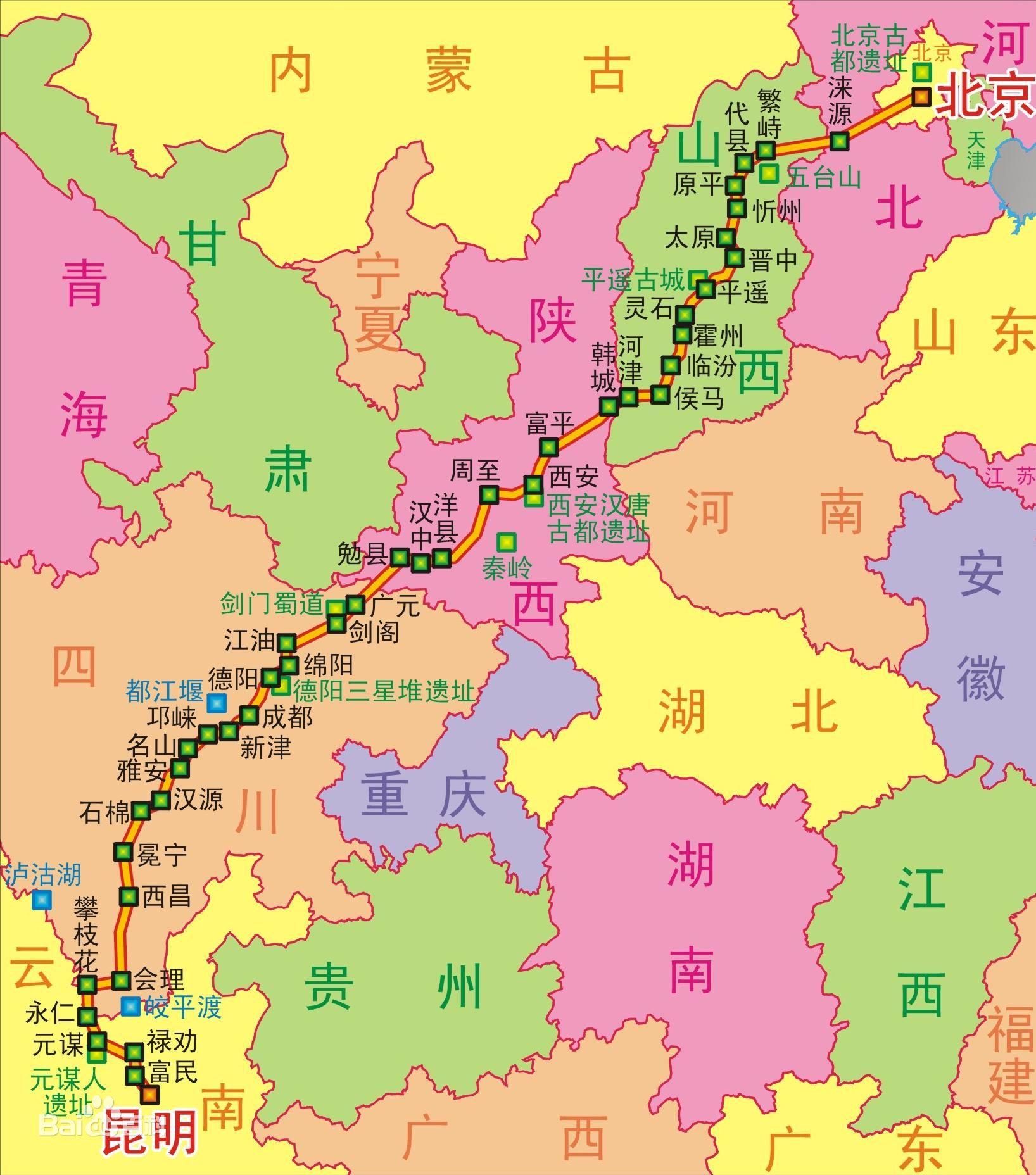 108国道线路地图