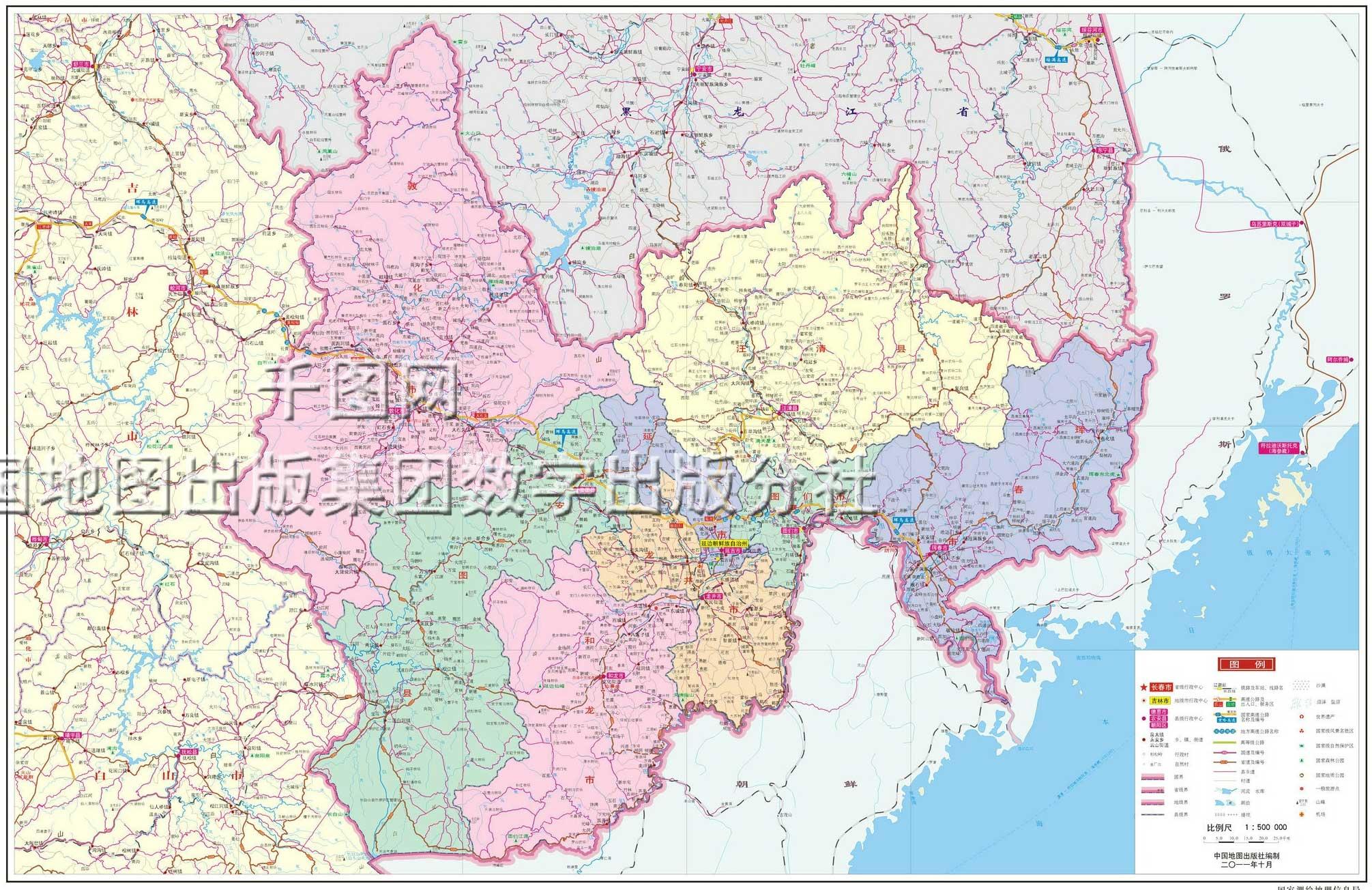 延边朝鲜族自治州地图高清版