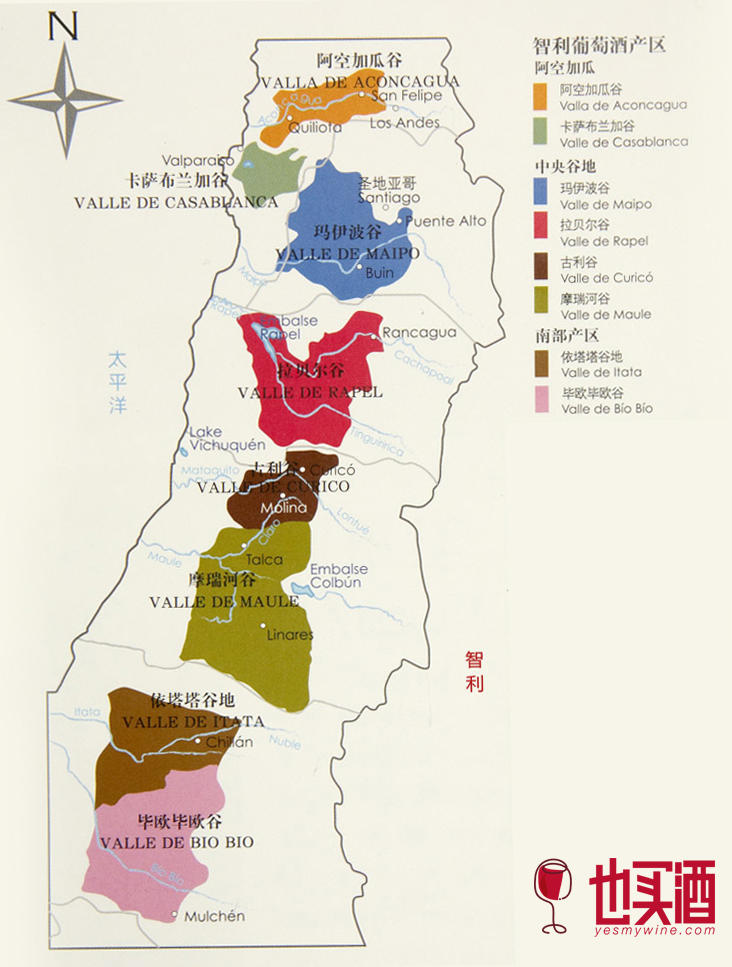 智利葡萄酒产区分布图图片