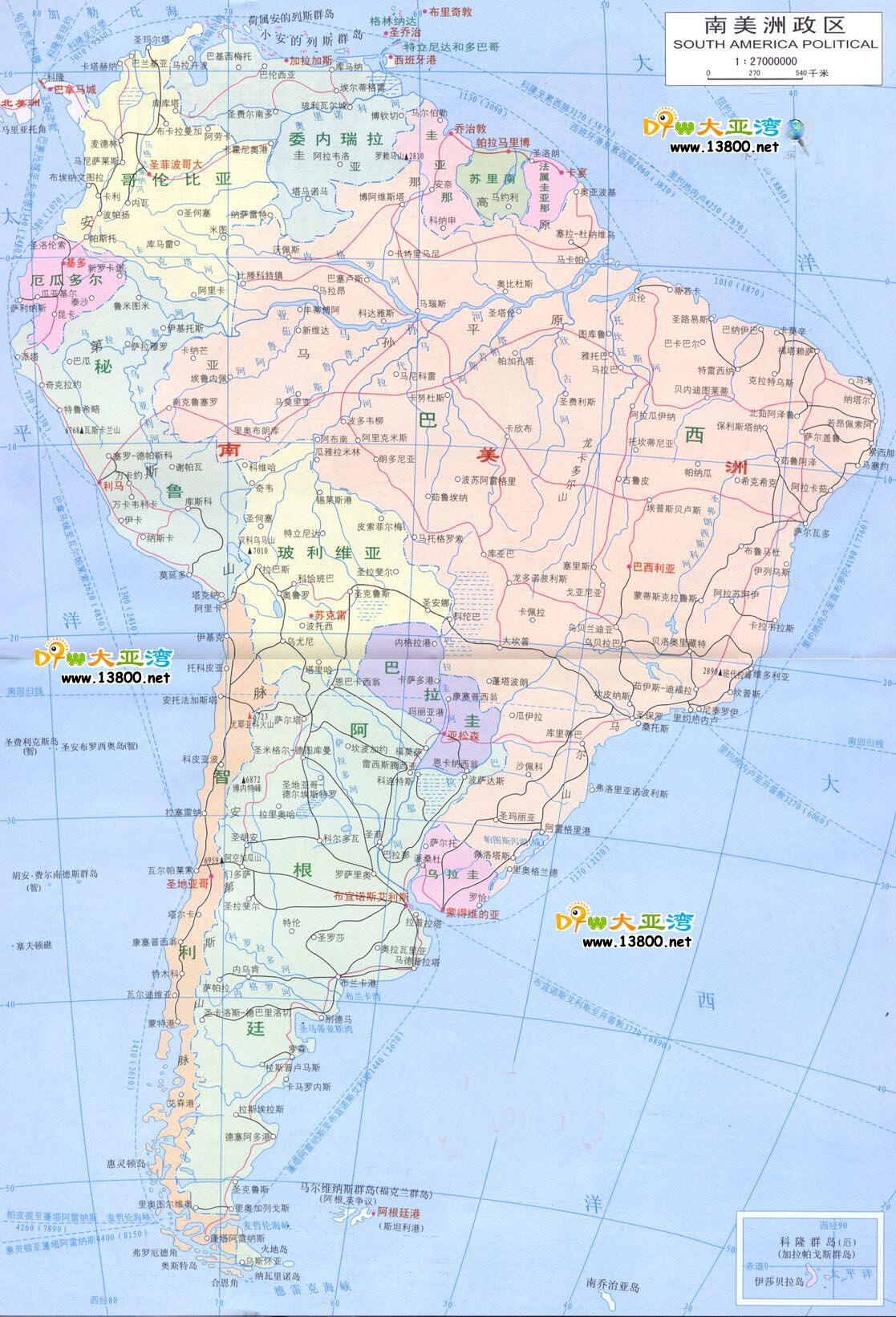 南美洲地图_南美洲地图库_地图窝图片