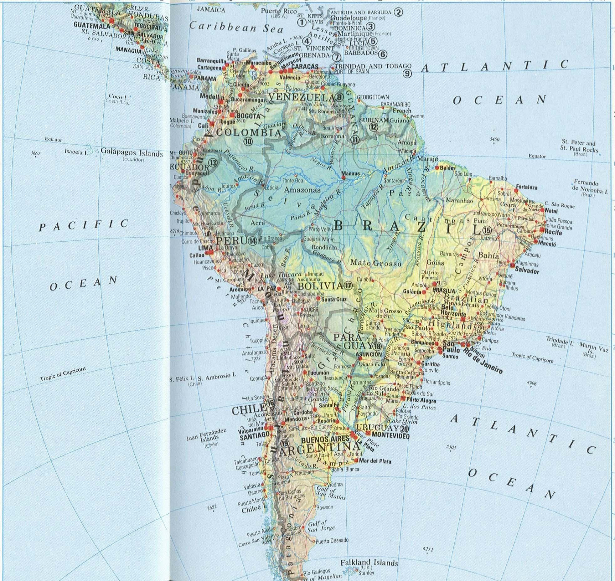 南美洲地图高清英文版