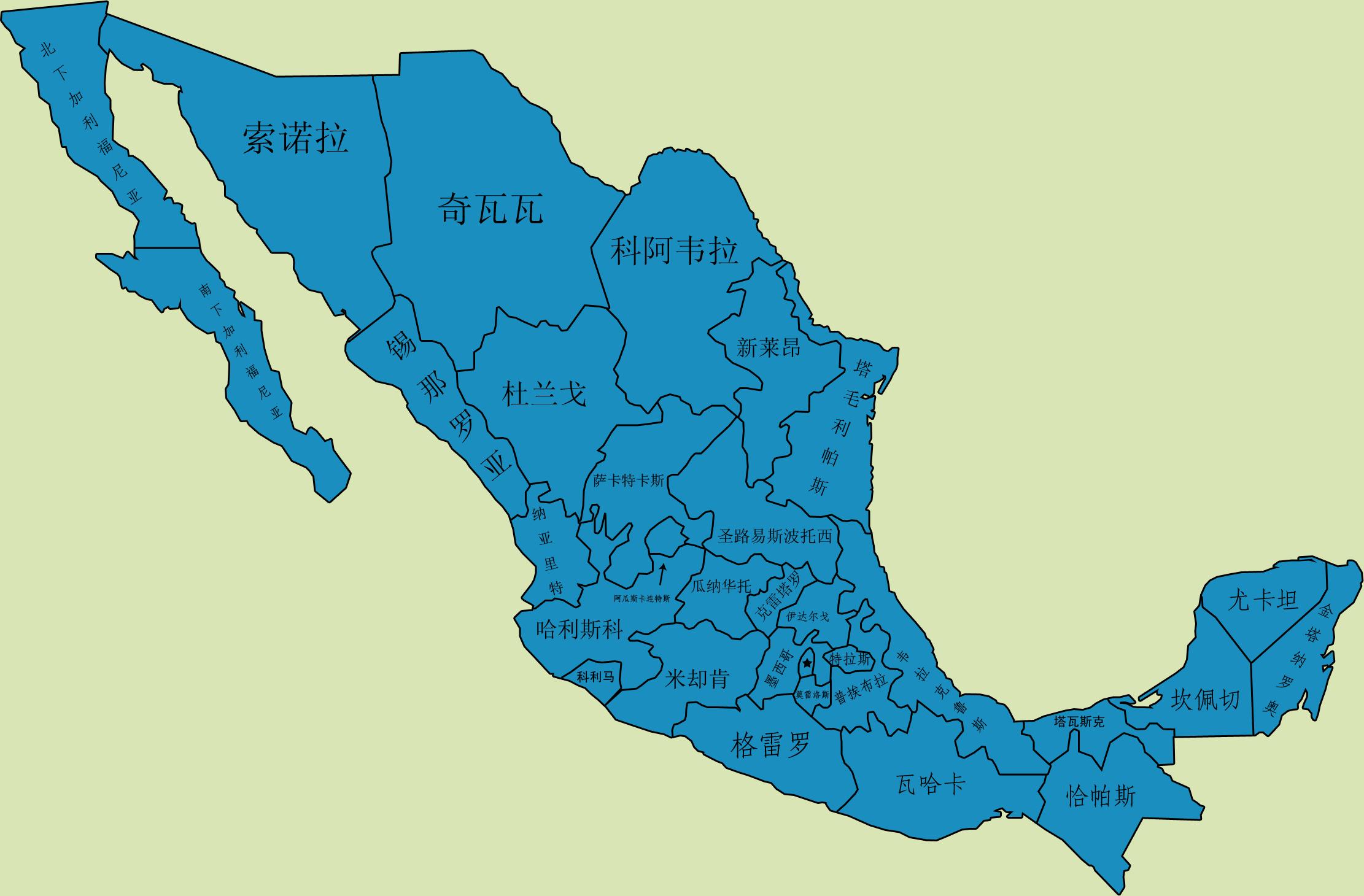 墨西哥行政区划图图片