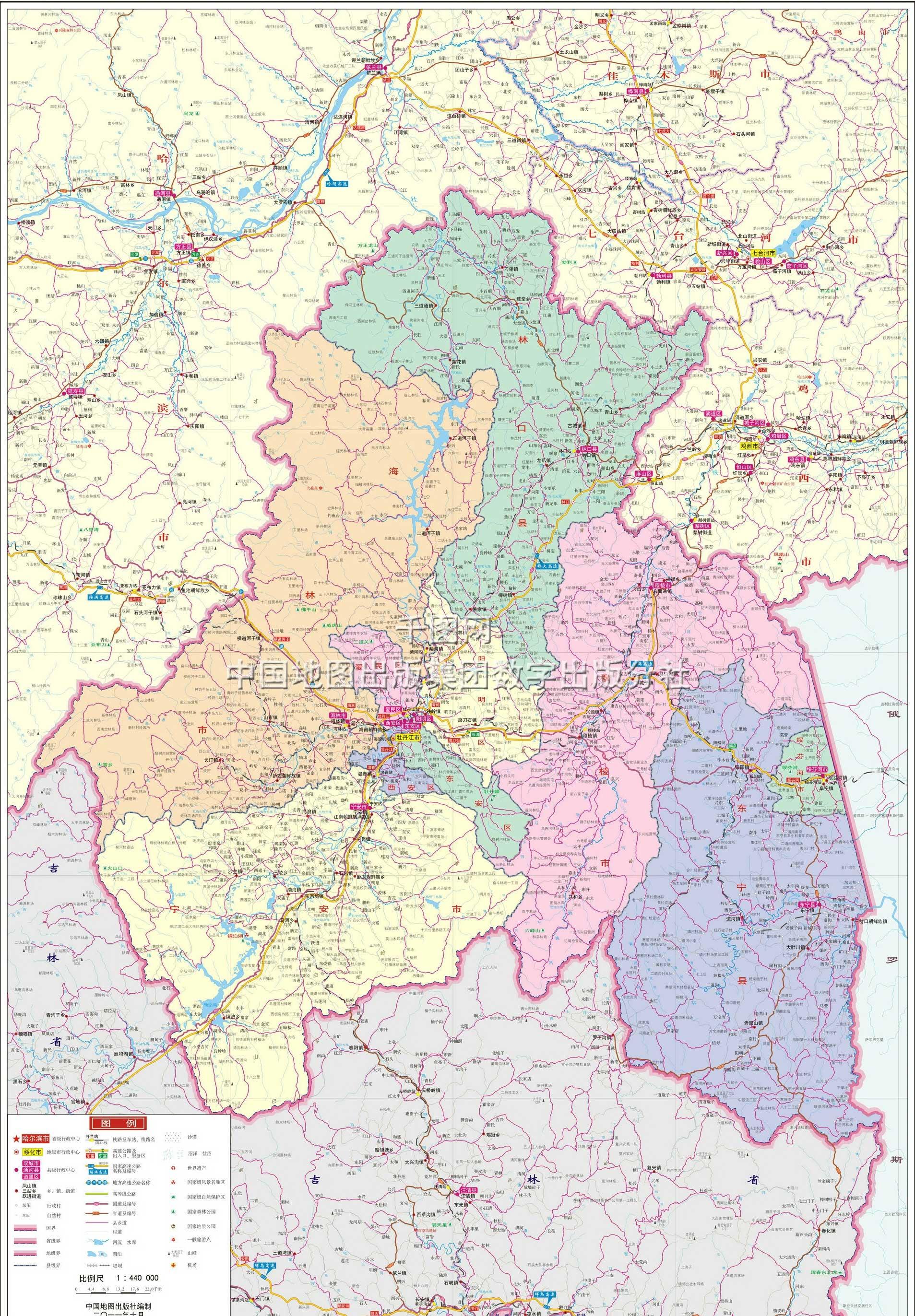 牡丹江市地图高清版
